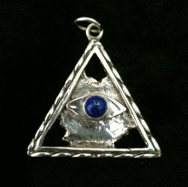 All seeing eye pendant sterling silver folksy all seeing eye pendant sterling silver mozeypictures Images