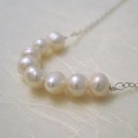 Curve Necklace - Freshwater Pearl and Sterling Silver