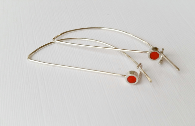 Red Long Wire Earrings, Contemporary, Minimalist Jewellery
