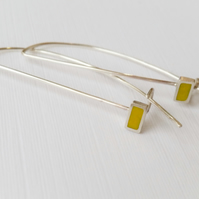 Sulphur Yellow Long Wire Earrings, Contemporary, Minimalist Jewellery
