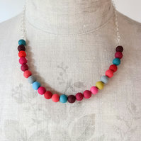 SALE! Bright Multi Colour Beaded Necklace, Contemporary Jewellery