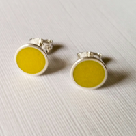 Colour Dot Studs Sulphur Yellow, Minimalist, Everyday Earrings