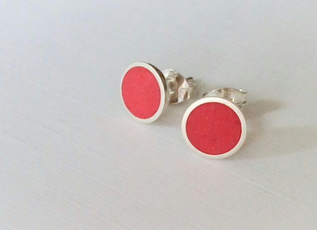 Colour Dot Studs Bright Red, Minimalist, Everyday Earrings