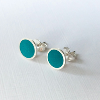 Colour Dot Studs Teal Green, Minimalist, Everyday Earrings