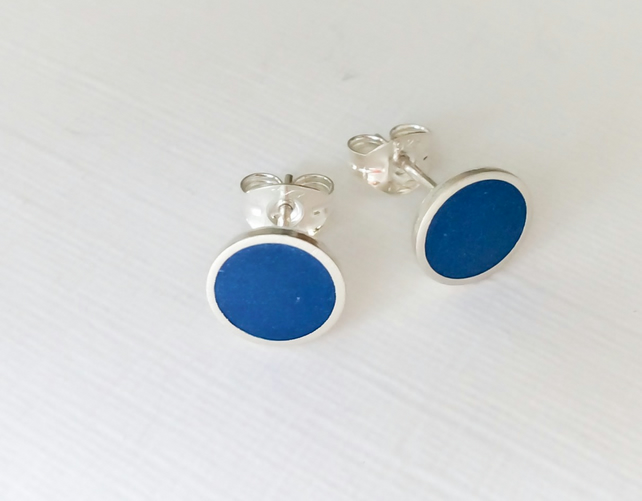 Colour Dot Studs Blue, Minimalist, Everyday Earrings