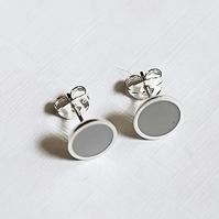 Colour Dot Studs Storm Grey, Minimalist, Everyday Earrings