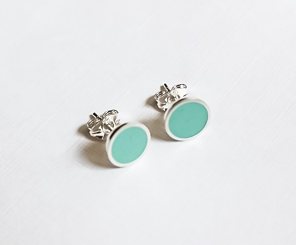Colour Dot Studs Light Turquoise, Minimalist, Everyday Earrings