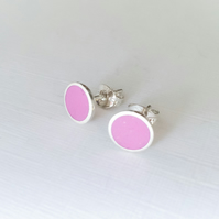 Colour Dot Studs Raspberry Pink, Minimalist, Everyday Earrings