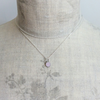 Pale Pink Colour Dot Pendant Necklace, Minimalist, Everyday Jewellery