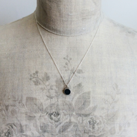 Black Colour Dot Pendant Necklace, Minimalist, Everyday Jewellery