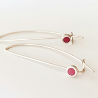 Dark Pink Long Wire Earrings, Contemporary, Minimalist Jewellery