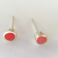 Tiny Colour Dot Stud Earrings Red, Minimalist, Everyday Jewellery