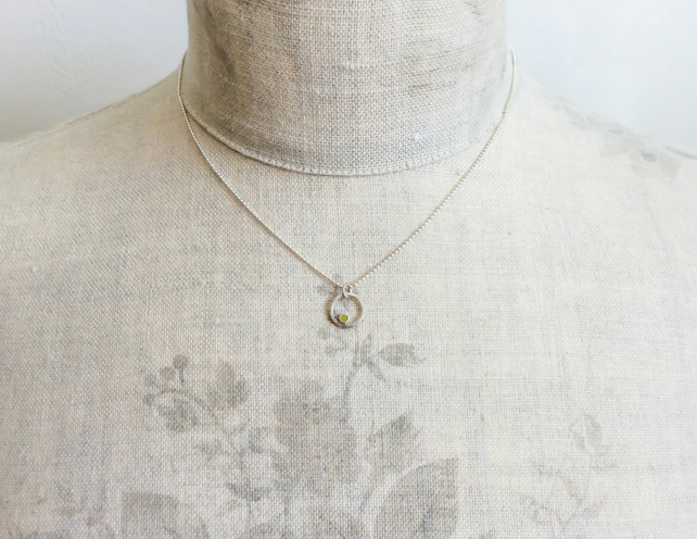 Tiny Sulphur Yellow Circle Pendant Necklace, Minimalist, Everyday Jewellery