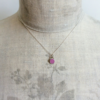 Raspberry Pink Colour Dot Pendant Necklace, Minimalist, Everyday Jewellery