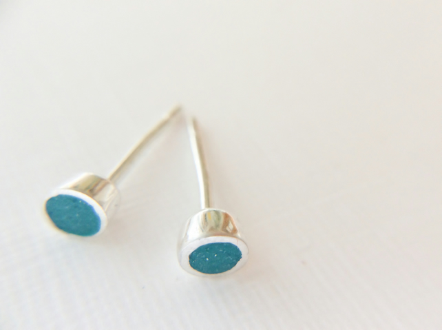 Tiny Colour Dot Stud Earrings Teal Green, Minimalist, Everyday Jewellery