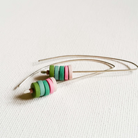 SALE! Green and Pink Long Wire Earrings, Contemporary Jewellery