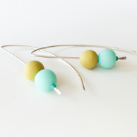 Aqua Blue and Mustard Yellow long wire earrings, contemporary jewellery