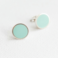 Colour Dot Studs Aqua Blue, Minimalist, Everyday Earrings