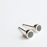 Small Colour Dot Stud Earrings Black, Minimalist, Everyday Jewellery