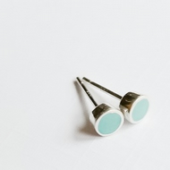 Small Colour Dot Stud Earrings Turquoise, Minimalist, Everyday Jewellery