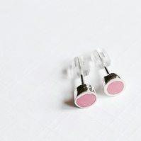 Small Colour Dot Stud Earrings Pink, Minimalist, Everyday Jewellery