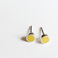 Small Colour Dot Stud Earrings Sulphur Yellow, Minimalist, Everyday Jewellery