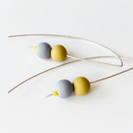 Grey and Yellow Long Sterling Silver Wire Earrings, contemporary jewellery