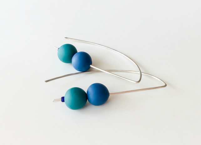 Teal and Blue Wire Earrings Contemporary Jewellery
