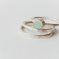 Pale Blue Colour Dot Stacking Ring Trio, sterling silver minimalist jewellery