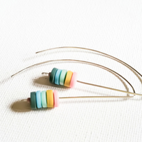 SALE! Multi Colour Long Wire Disc Earrings, Contemporary Jewellery