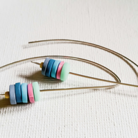 Blue and Pink Long Wire Earrings, Contemporary Jewellery