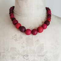 Beaded Statement Necklace in Berry Reds