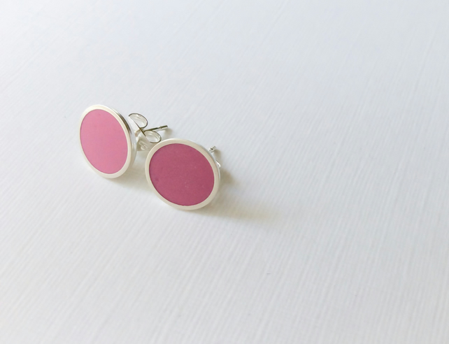 Colour Dot Studs Pink, Minimalist, Everyday Earrings