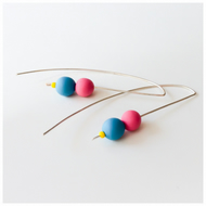 Bright Pink and Blue Earrings