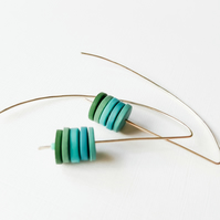 Blue and Green Long Wire Earrings, Contemporary Jewellery