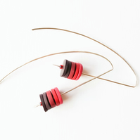 Red Long Wire Earrings, Contemporary Jewellery