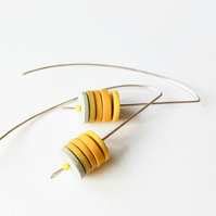 Yellow Long Wire Earrings, Contemporary Jewellery