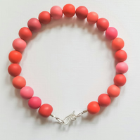 Coral Red Polymer Clay Beaded Bracelet