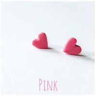 Tiny Pastel Coloured Heart Studs, Pink, Minimalist, Everyday Jewellery