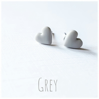Tiny Pastel Coloured Heart Studs, Dove Grey, Minimalist, Everyday Jewellery