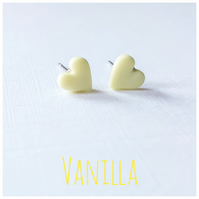 tiny Pastel Coloured Heart Studs, Vanilla, Minimalist, Everyday Jewellery