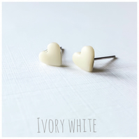 Tiny Pastel Coloured Heart Studs, Ivory White, Minimalist, Everyday Jewellery