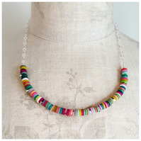 Multicolour Tiny Disc Sterling Silver Necklace, Modern, Contemporary Jewellery