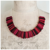 Deco Statement Necklace in Berry Reds, Contemporary Jewellery