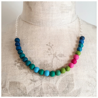 Colourful Turquoise and Pink Beaded Necklace, Modern, Contemporary Jewellery