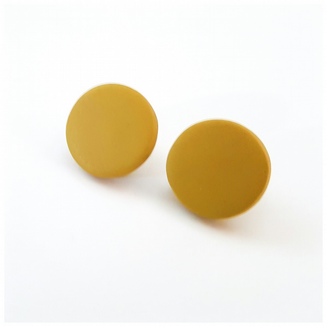 Giant Mustard Yellow Colour Dot Polymer Clay Stud Earrings