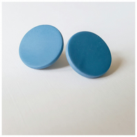 Giant Blue Colour Dot Polymer Clay Stud Earrings