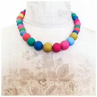 Beaded Statement Necklace in Summery Multicolours, Modern Contemporary Jewellery
