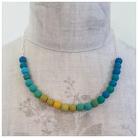 Colourful Turquoise and Mustard Beaded Necklace, Modern, Contemporary Jewellery