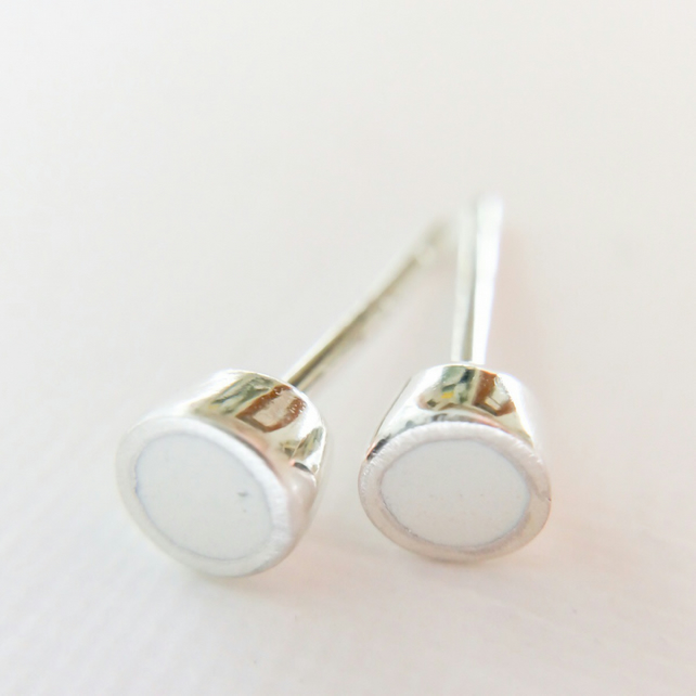Tiny Colour Dot Stud Earrings White, Minimalist, Everyday Jewellery